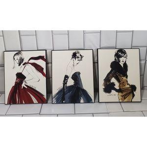 Lot of 3 ANNE TAVOLETTI  Wall Art Picture Print
